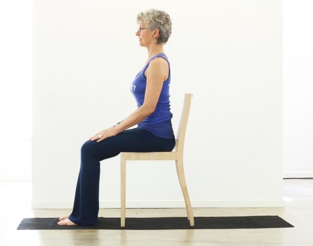 Mountain Pose / Tadasana / Samasthiti - modified with chair