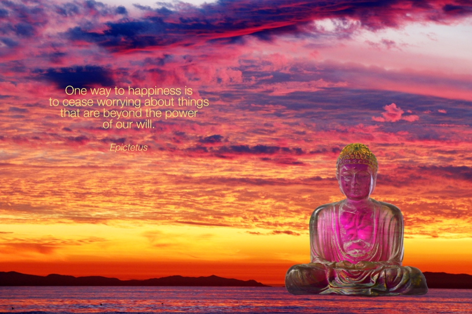 ©Rolf Goellnitz 2014 - Digital collage of Sunset Beach Sky in Winter 2013 with Buddha sculpture and Quote