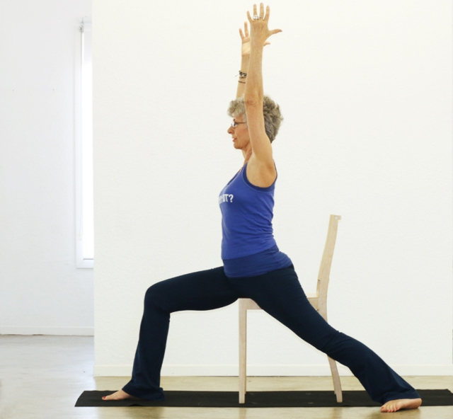 Warrior I/Virabhadrasana I modified with chair
