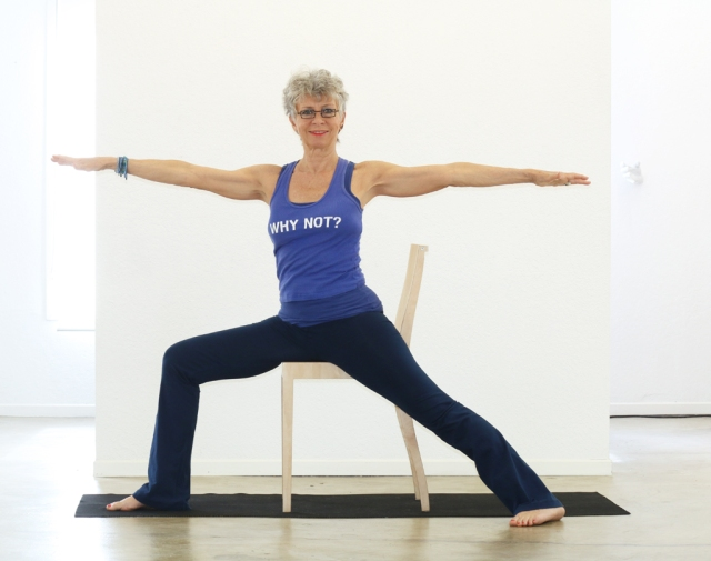 Warrior II/Virabhadrasana II - modified with chair