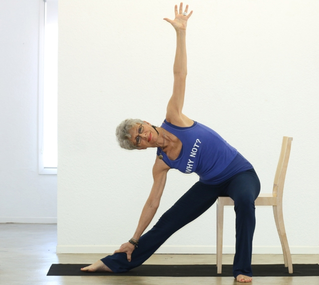 Triangle/Trikonasana -  modified with Chair