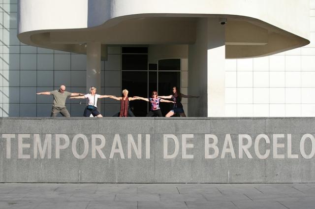 """""""Warriors"""" posing in front of the MOCA in Barcelona"""