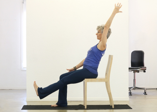 Boat/Navasana on chair