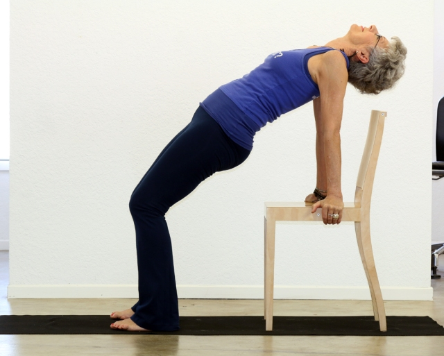 Bridge/Setu Bandhasana with chair