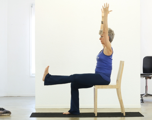 Half-Locust II-Asymmetrical/Ardha Salabhasana on the chair