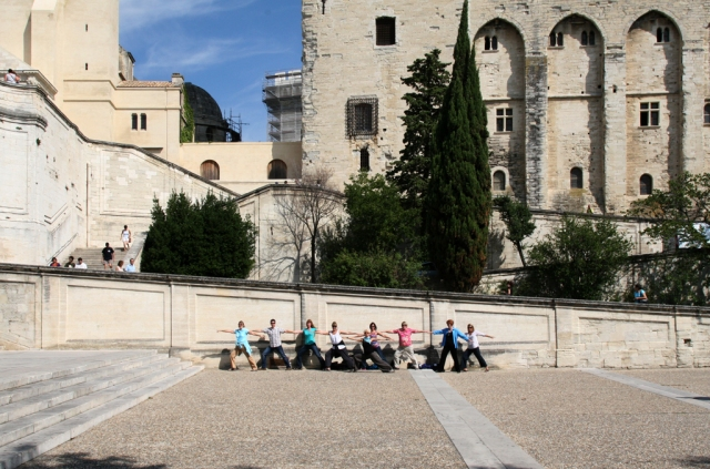 RoxAnn and Retreat Participants in front of the Popes' Palace in Avignon, France.